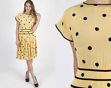 Vintage 80s Polka Dot Silk Dress Secretary Cocktail Party Draped Yellow Mini S