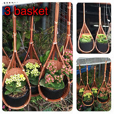 Lot 3 Basket Orchid Rattan Hanging Handmade Pot Plant Holder Hooks Garden Decor