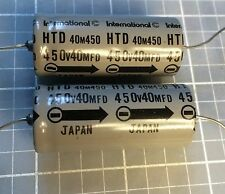 Two International Capacitors: 40 uF 450V: New Old Stock: 2 Pieces: Axial: Japan