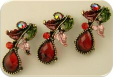 2 Hole Beads Leaf Vine & Teardrop Red Siam Swarovski Crystal Elements QTY 3