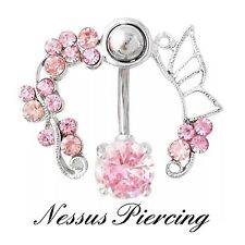 Stunning belly bar piercing Jewel surround navel cute banana bar