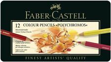 FABER-CASTELL - 12 COLOUR PENCILS - POLYCHROMOS - SUPPLIED IN A TIN