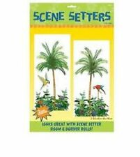 Pack 2 Hawaiian Scene Setters Palm Tree Parrot Summer Tropical Party Decoration