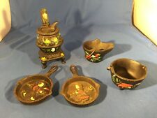 VTG Miniature Pot Belly Stove & Accessories Toll Painted Dutch Motif