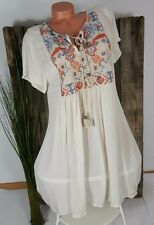 NEU ITALY SOMMER EMPIRE BOHO TUNIKA KLEID ஐ FOLKLORE STICKEREI ஐ CREME 38-42