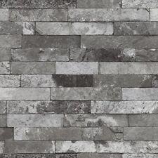 Vliestapete Steinoptik Ziegel grau schwarz weiß Rasch Factory 2 Tapete 475135 (2