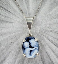 BLUE AGATE CAMEO PENDANT ---- .925 STERLING SILVER JEWELRY  MOTHER AND CHILD