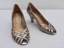 Used Womens 6 SEYCHELLES Silver Leather Strappy Open Peep Toe High Heels