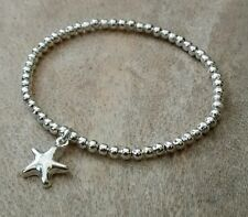 Simple Silver Ball Beaded Star / Starfish Charm Surfer Stretchy Bracelet Bangle