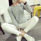 Womens Girls Loose Sweater Pullover Jumper Long Sleeve Knitted Crew Neck Tops