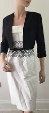 JOHN CHARLES-RRP £730 - IVORY & BLACK BEADED JACKET & DRESS SUIT-MOTHER OF BRIDE