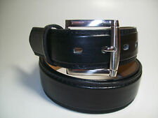 "Men Silver Buckle Black leather belt XL 42 - 44"" #1015B"