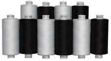10 Black & White Colours of Moon Polyester Sewing Thread, 1000yds Each Spool