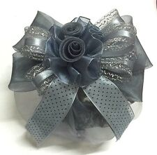 Beautiful Rose Grey Black Dot Bow Ribbon Hair Clip Snood Net Bun Cover Ballet