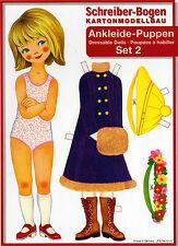 Ankleide-Puppen aus den wilden 1970ern 5 Puppen Paperdoll Reprint J.F. Schreiber