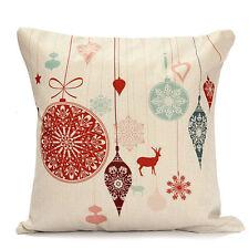 Christmas Xmas Linen Cushion Cover Throw Pillow Case Home Decor Festive Gift #8