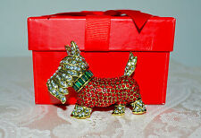 """New $140 HEIDI DAUS """"Diamond in the Woof"""" Scottie Dog Brooch Pin RED Crystals"""