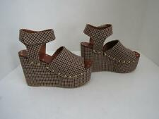 NWOB Celine Browns Houndstooth Fabric Wedges/Sandals/Platforms Size 37