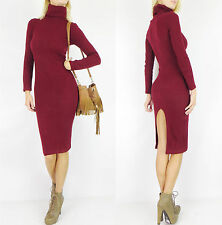 BURGUNDY Long Sleeve SWEATER MIDI Ribbed Mock Turtleneck Slit Pencil Dress M