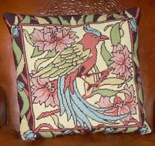 VINTAGE NEEDLEPOINT HAND EMBROIDERED TAPESTRY CUSHIONS /c1950
