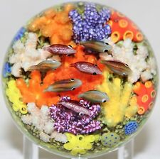 LOVELY and Vibrant CATHY RICHARDSON Soft CORAL Reef FISH Art Glass PAPERWEIGHT