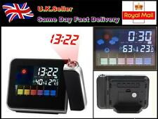 Digital LCD LED Time Projector Snooze Colorful Alarm Clock Weather Temp/Humidity