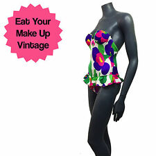 Vtg 90s Bright Flower Print Frilly Skirt Underwired Bustier Swimsuit 8 B Cup