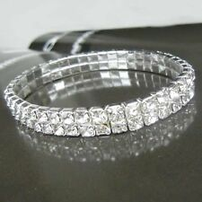 Womens Fashion Jewelry 2-Row Crystal Stretch Tennis Bracelet for Wedding Party