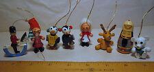Old Wooden ornaments Christmas German LOT of 8 Taiwan penguins santa reindeer
