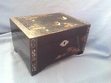 "VTG JAPAN BLACK LACQUOR MoP TRIM ""IT WAS FASCINATION"" MUSIC JEWELRY BOX & KEY"
