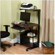Mobile Computer Desk Laptop Student Furniture Tower with Shelf Table Study Brown