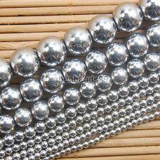 """Natural Hematite Gemstone Round Ball Beads 16"""" Metallic Color 2 3 4 6 8 10mm"""