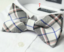 MENS Luxury 2 Layer Black & White Tartan Check Dickie Bow Tie Ties Adjustable