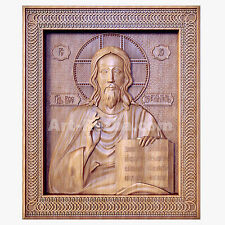 "20"" Jesus Christ God The Lord Almighty Icon 3D Orthodox Wood Carved Russian"