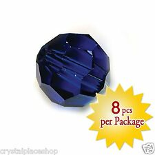 Swarovski Crystal 8mm Dark Sapphire Beads, Package of 8