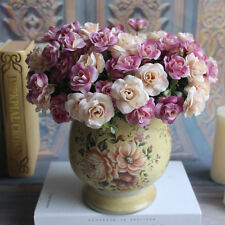 Silk Flowers Vintage Wedding Artificial Pink & Cream Rose Posy Bouquet Bunch 15