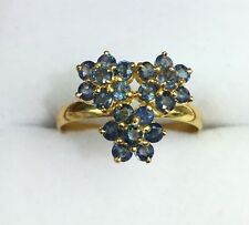 14k Solid Yellow Gold Three Flowers Ring, Natural Sapphire 1.8TCW, Size 7.75