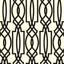 Wallpaper Designer Black on Off White Imperial Trellis Geometric Lattice