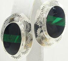 """Artisan Sterling Silver Black Onyx Malachite Earrings Southwestern Oval 1 3/8"""""""