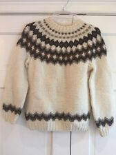 VTG HILDA LTD 100% WOOL MADE ICELAND SKI WINTER SNOW SWEATER BEIGE BROWN Sz S