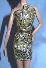 """* DRESS ONLY ~ BARBIE DOLL """"THE LOOK"""" CITY SHINE GOLD EVENING GOWN MODEL MUSE"""