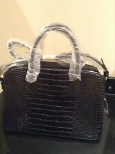 NAVY MANGO 'CROC EFFECT' ZIPPED TOTE BAG HANDBAG. BNWT. SHORT & LONG HANDLES.