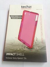 T-mobile tech21 D30 Clear Pink Impact Shell Case TPU Cover For Sony Xperia Z1s
