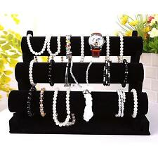Multi-Purpose Bracelet Watch Bangle 3-Tier Velvet Jewelry Holder Display Rack