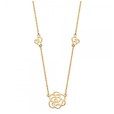 14K SOLID YELLOW GOLD Flower Station Necklace Pendant + Rolo Chain - Love Charm