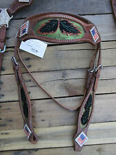 WESTERN HEADSTALL BREAST COLLAR BLUE RED FLAG BARREL BLACK HORSE LEATHER BRIDLE