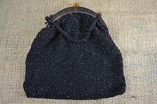 VINTAGE 1920s black beaded evening bag celluloid tortoiseshell frame flapper