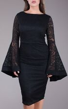 Plus Floral Crochet Lace Bell Sleeve Bodycon Midi Dress