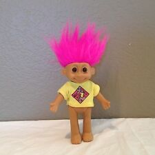 """6 1/4"""" Vintage Russ TROLL Baby DOLL Pink Hair Yellow Shirt JOINTED"""