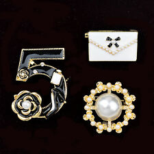 Brand Charm Pearl Camellia Pin Brooch Num 5 Bag Pin Women 3 Sets Pins Brooches